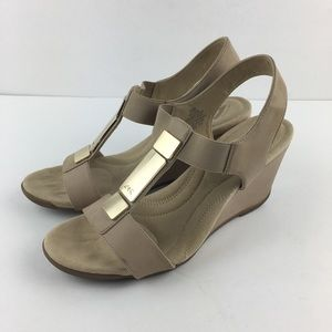 Anne Klein Sport Tan Wedge Sandals